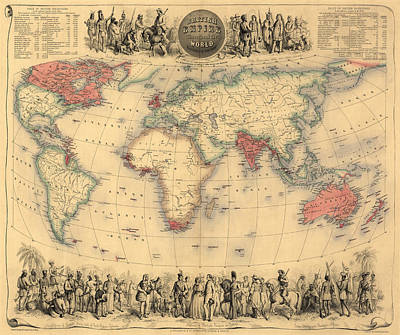 Native Drawing - Antique Map Of The British Empire Circa 1870 by English School