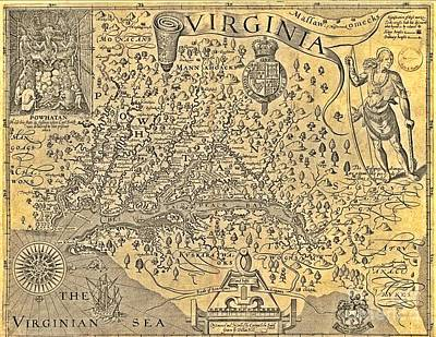 Antique Map Of Virginia Original by Pd