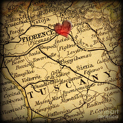 Antique Map With A Heart Over The City Of Florence In Italy Print by ELITE IMAGE photography By Chad McDermott