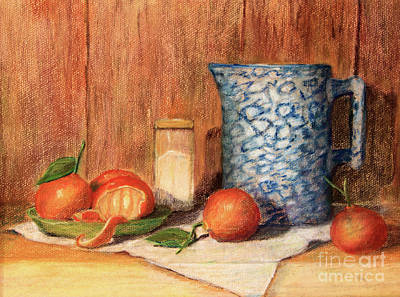 Antique Pitcher With Tangerines Print by Pattie Calfy