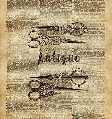 Retro Digital Art - Antique Scissors Old Book Page Design by Jacob Kuch