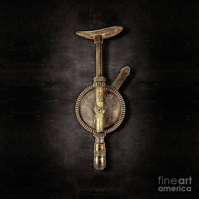 Bits Photograph - Antique Shoulder Drill Backside On Black by YoPedro