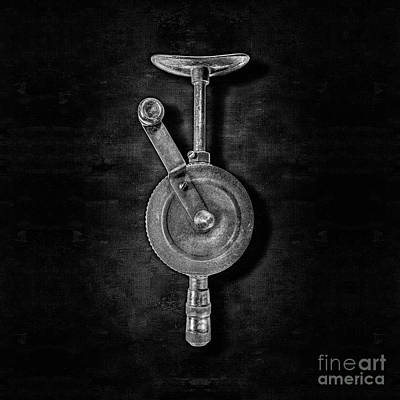 Bits Photograph - Antique Shoulder Drill Front Bw by YoPedro