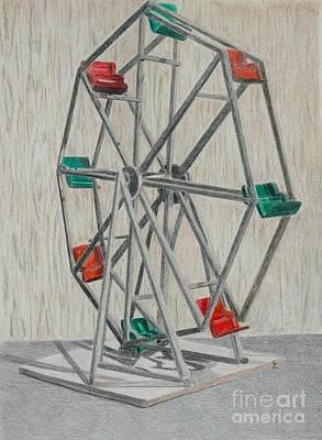 Amusement Park Drawing - Antique Toy Ferris Wheel by Glenda Zuckerman