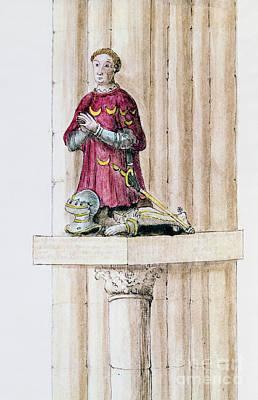 Statue Portrait Drawing - Antoine Des Essarts by Granger