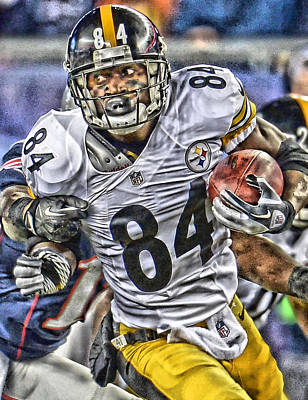 Pittsburgh Steelers Painting - Antonio Brown Steelers Art by Joe Hamilton