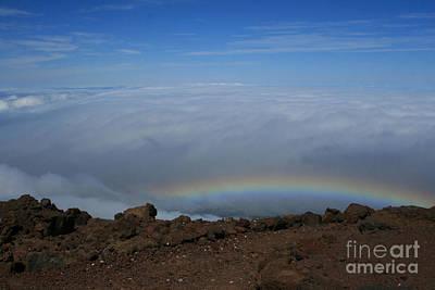 Anuenue - Rainbow At The Ahinahina Ahu Haleakala Sunrise Maui Hawaii Print by Sharon Mau