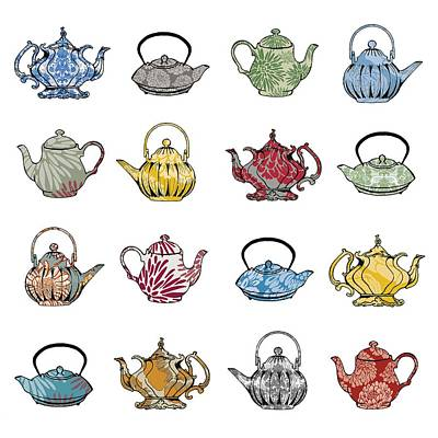 Teapot Painting - Anyone For Tea by Sarah Hough