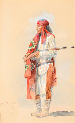 Watercolor Painting - Apache Warrior by Celestial Images