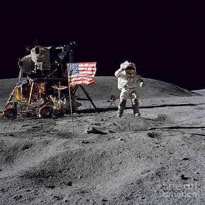 Apollo 16 Astronaut Leaps Print by Stocktrek Images