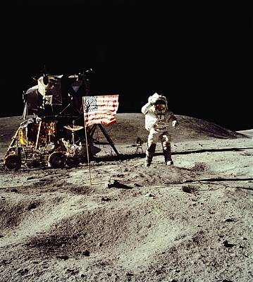 Apollo 16 Astronaut Salutes The Us Flag Print by Everett