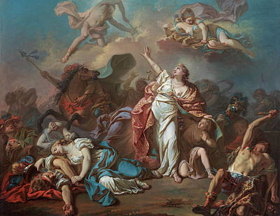 Apollo And Diana Attacking The Children Of Niobe Print by Jacques-Louis David