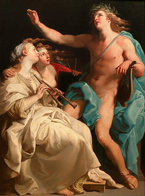 Wreath Painting - Apollo With Two Muses by Mountain Dreams