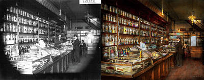 Apothecary - A Visit To The Chemist 1913 - Side By Side Print by Mike Savad