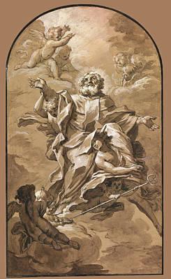 Drawing - Apotheosis Of Saint Nicholas by Jean-Baptiste Jouvenet