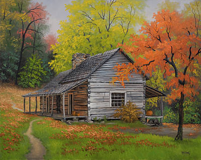 Appalachian Retreat-autumn Print by Kyle Wood