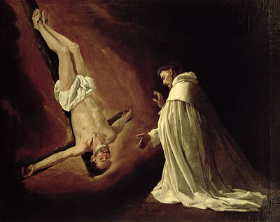 Martyrdom Painting - Appearance Of Saint Peter To Saint Peter Nolasco by Francisco de Zurbaran