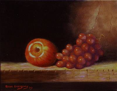 Apple And Grapes Print by Gene Gregory