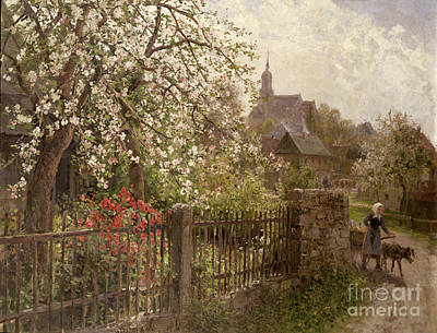 Farm Scene Painting - Apple Blossom by Alfred Muhlig