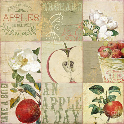 Apple Blossoms Patchwork I Print by Mindy Sommers