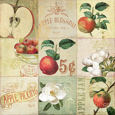 Apple Blossoms Patchwork II Print by Mindy Sommers