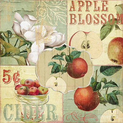 Apple Blossoms Patchwork Iv Print by Mindy Sommers