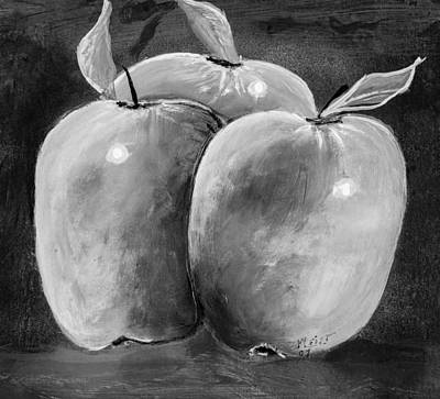 Apple Trio Two Tone Print by Joe Leist -digitally mastered by- Erich Grant