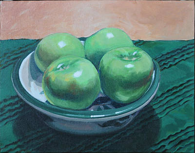Still Life With Green Apples Painting - Apples #2 by B Sanders