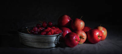 Raspberry Photograph - Apples And Berries Panoramic by Tom Mc Nemar