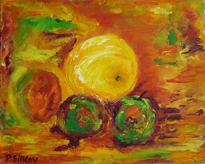 Apples And Grapefruit Print by Peter Silkov