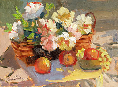 Peaches Painting - Apples And Peonies by Diane McClary