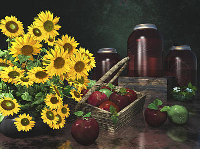 Apples And Sunflowers 1 Print by Mary Almond