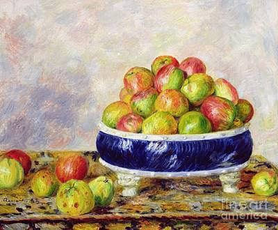 Blue Table Painting - Apples In A Dish by  Pierre Auguste Renoir
