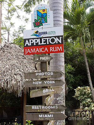 Appleton Photograph - Appleton Jamaica Rum Direction Sign by Jason O Watson