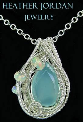 Sterling Silver Wrapped Pendant Jewelry - Aqua Chalcedony Wire-wrapped Pendant In Sterling Silver With Ethiopian Welo Opals Qchlcpss1 by Heather Jordan