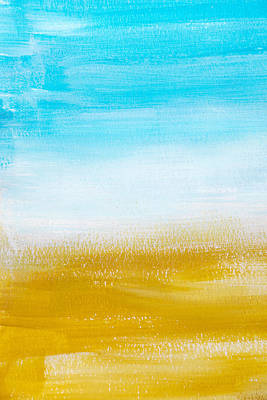 Rollo Painting - Aqua Gold Abstract Painting by Christina Rollo