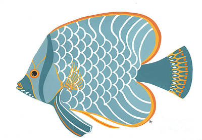Fish Painting - Aqua Mid Century Fish by Stephanie Troxell