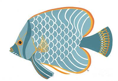 Aqua Mid Century Fish Print by Stephanie Troxell