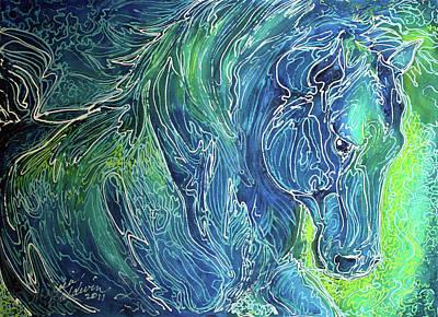 Aqua Mist Equine Abstract Print by Marcia Baldwin