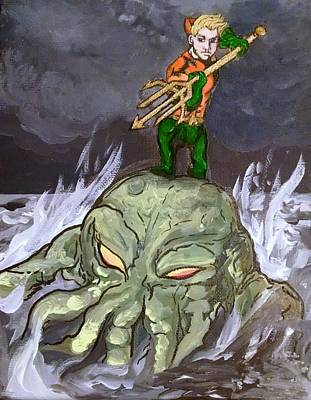 Aquaman Rides Cthulhu Into Battle Print by Siobhan Shene