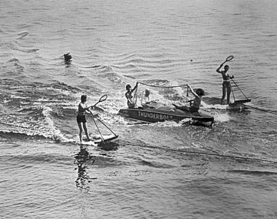 Tennis Photograph - Aquaplane Tennis by Underwood Archives