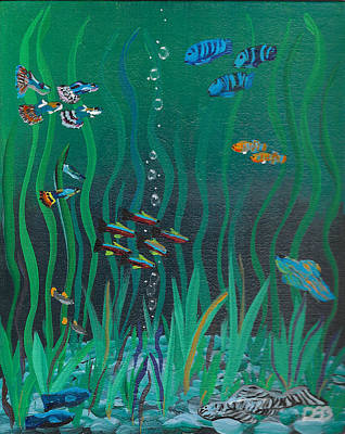 Fish Painting - School Tank Tag by David Bigelow