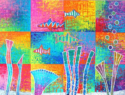 Aquatic - Blocks Print by Jeremy Aiyadurai