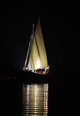 Qatar Photograph - Arab Dhow At Night by Paul Cowan