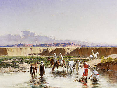 Bedouin Painting - Arab Horsemen Watering In An Oasis by Victor-Pierre Huguet