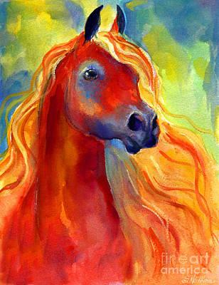 Custom Horse Portrait Drawing - Arabian Horse 5 Painting by Svetlana Novikova