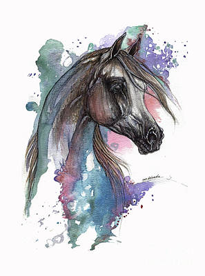 Arabian Horse On Blue And Pink Background Original by Angel Tarantella