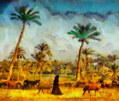 Arabian Painting - Arabian Shepherd by George Rossidis