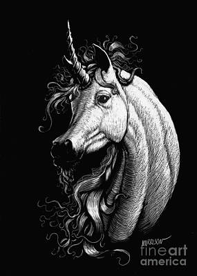 Extinct And Mythical Drawing - Arabian Unicorn by Stanley Morrison