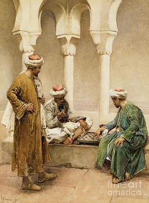 Arabs Playing Chess Print by Gustavo Simoni